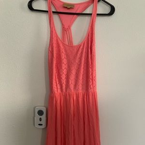NWOT Coral lace top cross back dress